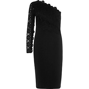 Black lace one shoulder bodycon dress