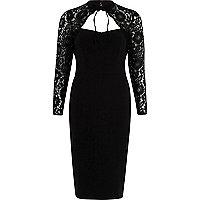Black floral lace long sleeve choker dress