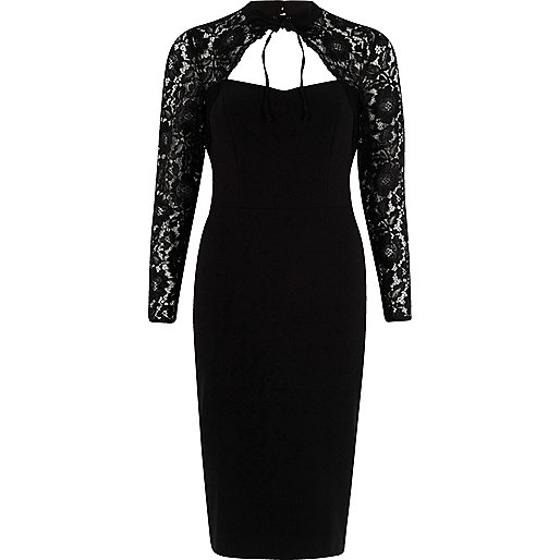 Black floral lace long sleeve choker dress