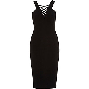 Black lace-up front sleeveless bodycon dress