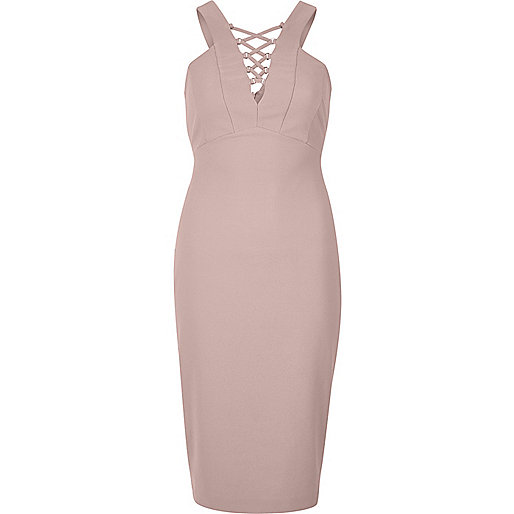 Light pink lace-up front bodycon midi dress