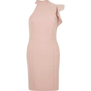 Light pink one shoulder fitted frill dress