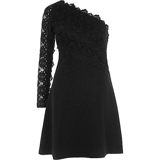 Black one shoulder lace sleeve skater dress