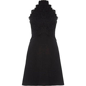 Black lace sleeveless high neck dress