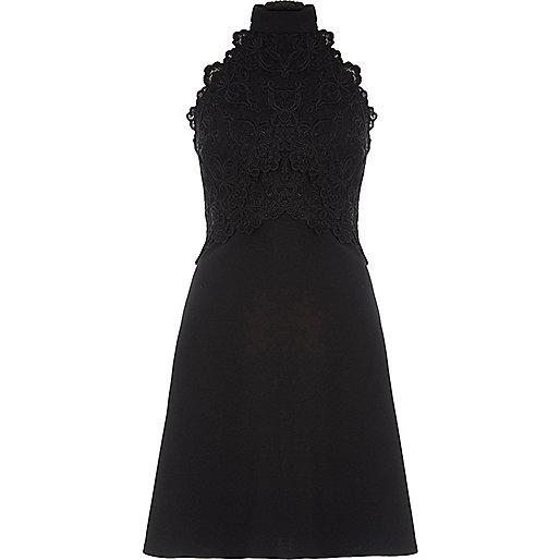 Black lace sleeveless high neck dress
