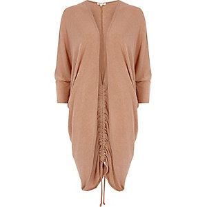 Light brown ruched back longline cardigan