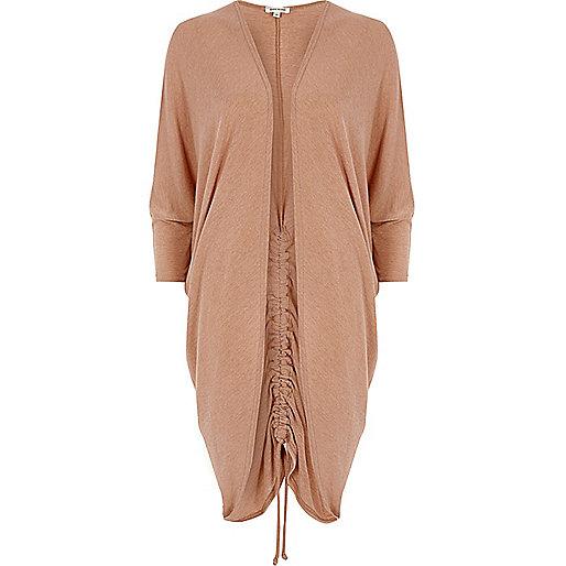 Light brown ruched back longline cardigan