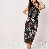 Black floral print lace bodycon midi dress