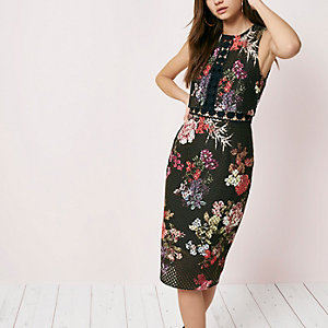 Black floral print lace bodycon midi dress