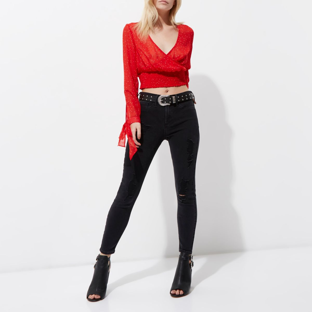 Petite red polka dot wrap tie cuff crop top