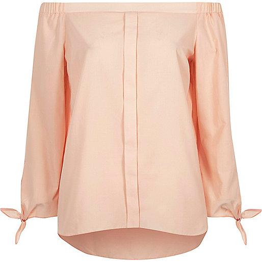Pink tie sleeve bardot shirt