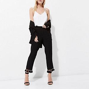 Petite black jacquard tassel cropped trousers