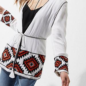 Petite white aztec embroidered beach kimono
