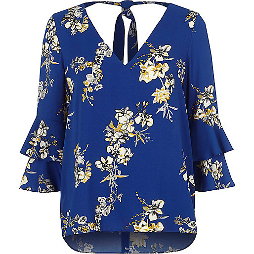 Blue floral double bell sleeve tie back top