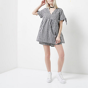 Petite black gingham babydoll playsuit