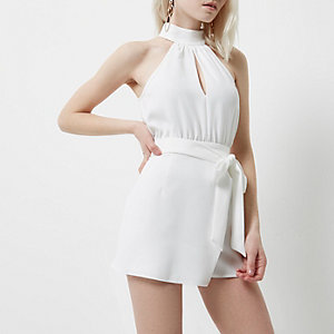 Petite white wrap front high neck playsuit
