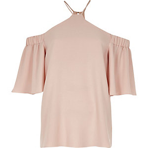 Nude frill sleeve cold shoulder