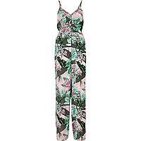 Pink tropical leaf print knot back jumpsuit