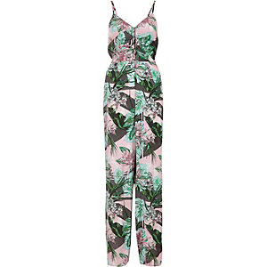 Pink tropical leaf print knot back jumpsuit