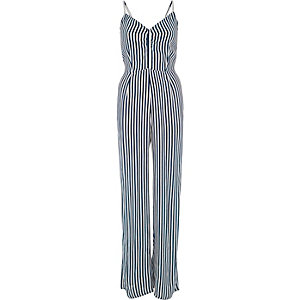 Blue stripe print wide leg cami jumpsuit