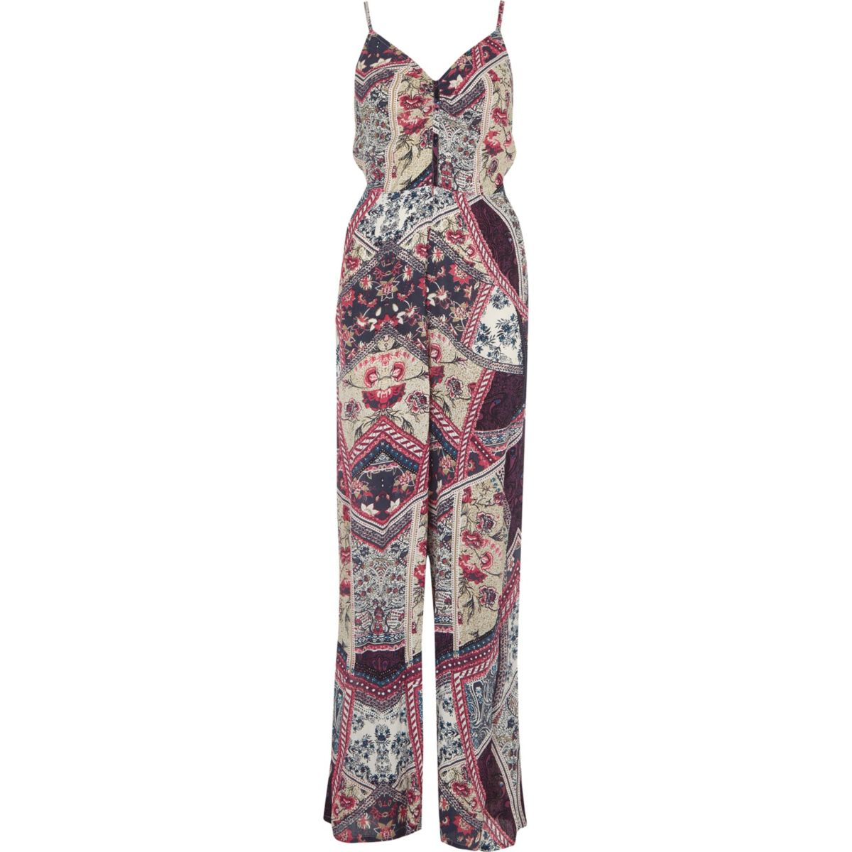 Purple floral print wide leg jumpsuit