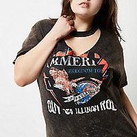Plus black acid wash choker band T-shirt