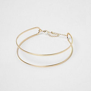 Gold tone double row choker
