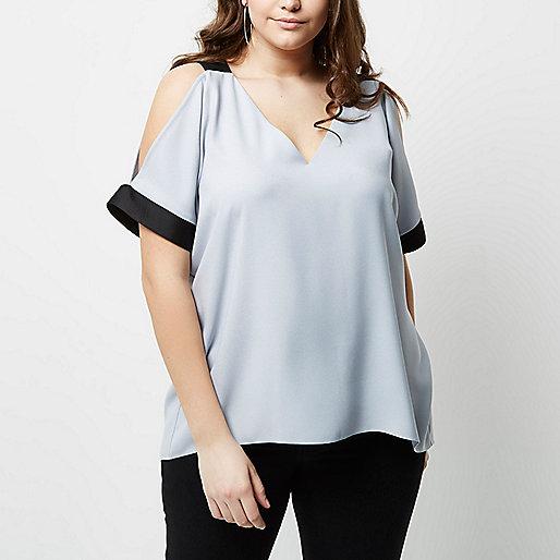 Plus light grey cold shoulder top