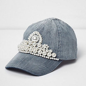 Blue faux pearl embellished denim cap