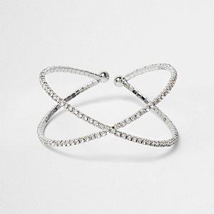 Bracelet manchette argenté avec boules à strass aux extrémités