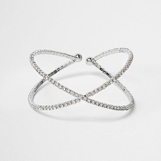 Silver tone diamante cuff bracelet
