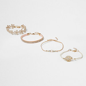 Gold tone beaded lace bracelet pack