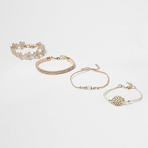 Gold tone beaded lace bracelet pack