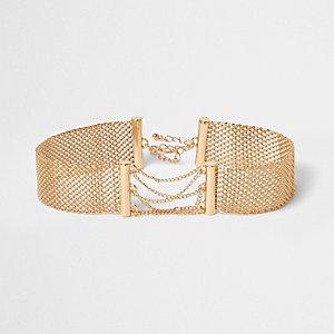 Gold tone mesh chain corset choker