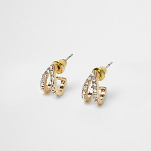Gold tone diamante pave earrings