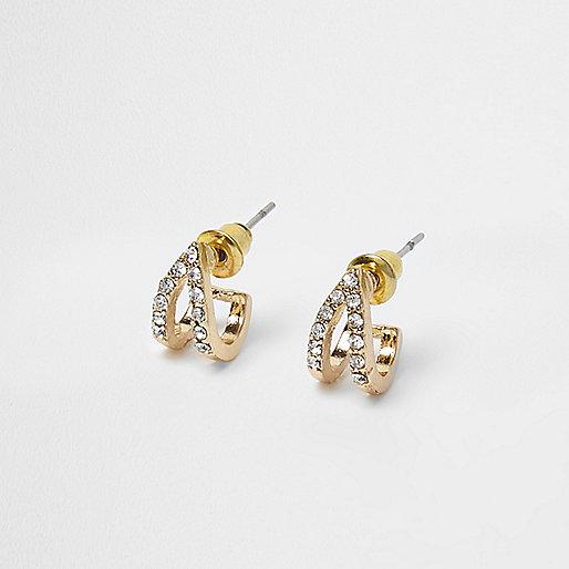 Gold tone diamante pave earrings