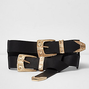 Black gold tone double tie western belt