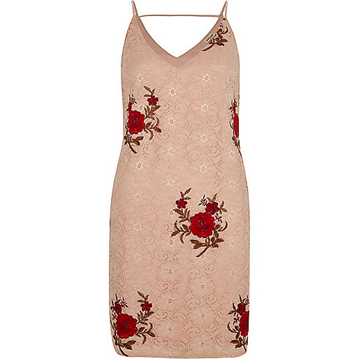 Pink lace rose embroidered slip dress