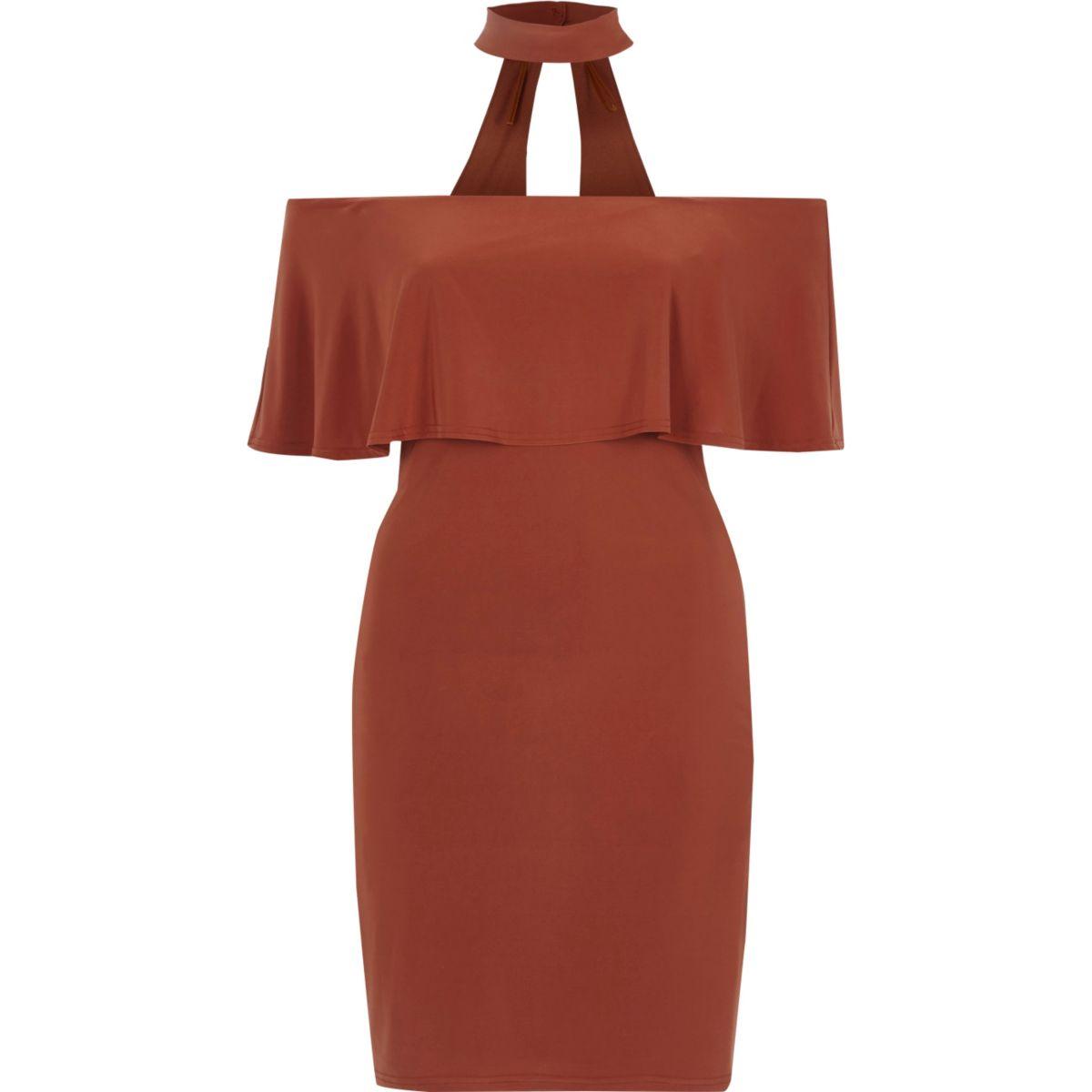 Orange deep frill bardot bodycon dress