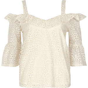 Cream lace frill cold shoulder top