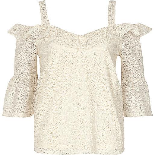 Cream lace frill cold shoulder top