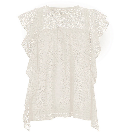 Cream lace waterfall frill top