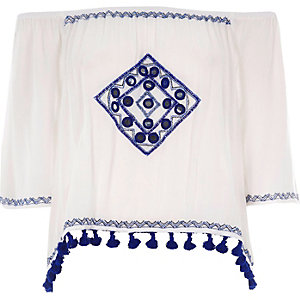 White embroidered mirror bardot crop top
