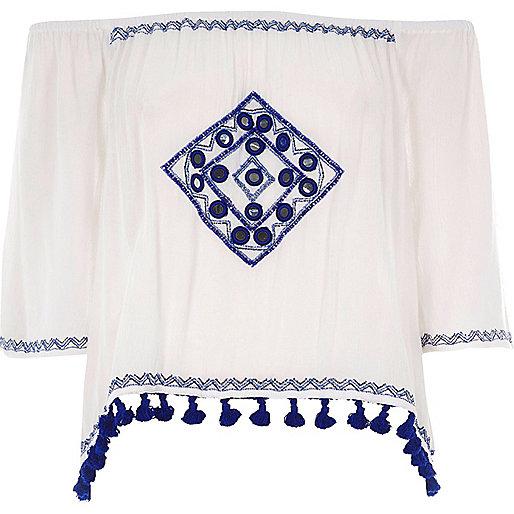 White embroidered mirror bardot crop top