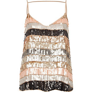 Cream stripe sequin cami top