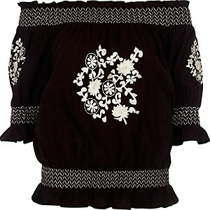 Black floral embroidered shirred bardot top