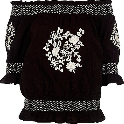 Black floral embroidered shirred bardot top