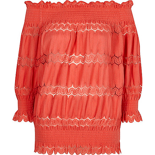 Coral lace panel shirred bardot top