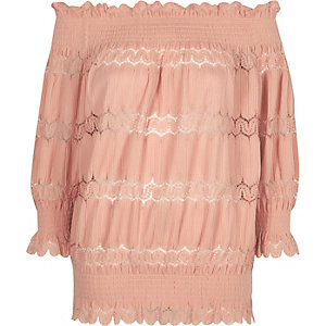 Light pink lace panel shirred bardot top