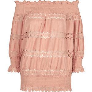 Light pink lace panel shirred bardot top